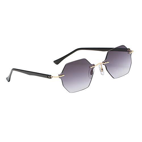 FITYLE Gafas de Sol de Estilo Moderno para Mujer sin Montura Pilot UV400 Protection Driving Travelling Gafas de Sol Ligeras Lentes gradientes Gafas de - Gris Degradado