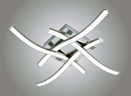 Trango Modern Design XXL 4-flammig geschwungene dimmbare LED Deckenleuchte Deckenlampe 3132XXL mit 4x 6 Watt LED Module - 3000K warmweiß - Nickel matt Deckenstrahler Strahler, Wohnzimmer Lampe