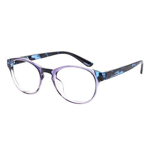 OCCI CHIARI Reading Glasses Women Round Readers 1.0 1.25 1.5 1.75 2.0 2.25 2.5 2.75 3.0 3.5 4.0 5.0 6.0 (Purple/Blue 125)