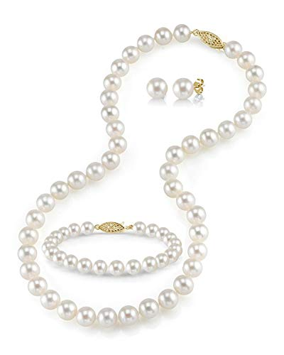 6.5-7mm Freshwater Cultured Pearl Necklace Set for Women Includes Bracelet and Stud Earrings with 14K Gold - THE PEARL SOURCE