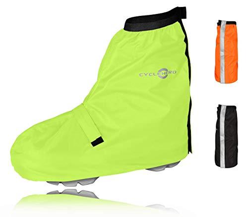 CYCLEHERO Fahrrad Regenschutz Schuhe - Premium Design, Optimaler Halt - Überschuhe Fahrrad Wasserdicht - Top Fahrrad Gamaschen by Gelb