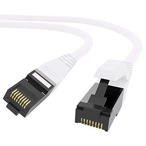 AIXONTEC 10 Stück 0,3m Profi Netzwerk LAN Kabel WEIß, Cat 7 S FTP LEONI Ethernet LAN DSL Daten Kabel, RJ 45 Stecker Patchkabel HIGH SPEED 10 Gigabit Router Power LAN Kabel - MADE IN GERMANY