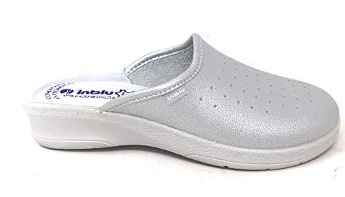 inblu Pantofole Ciabatte SANITARIE da Donna MOD. 50-33 Argento (36)
