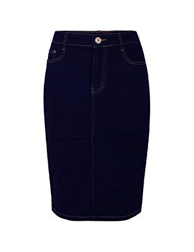 Fraternel Damen Jeans Rock Knielang Bleistift Stretch Blau 38