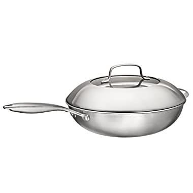 Multi-Ply Clad 18/10 Stainless Steel Wok Pan Stir Fry Pan With Dome Lid and Steamer Basket, 13-inch, By Bruntmor