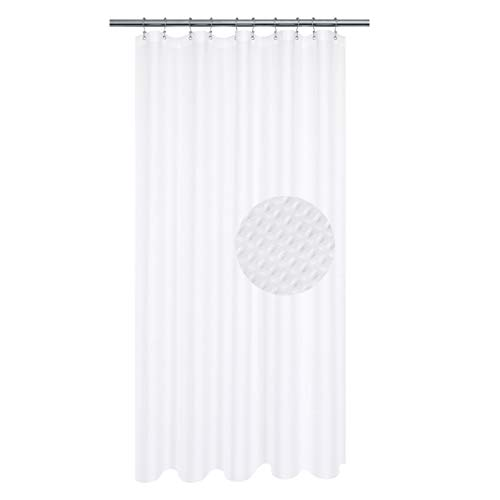 Stall Shower Curtain 54 x 72 inch, Fabric, Waffle Weave, Hotel Collection, 230 GSM Heavyweight, Water Repellent, Machine Washable, White Pique Pattern Decorative Bathroom Curtain