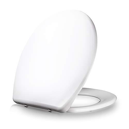 Dombach® Celesto Premium Toilettendeckel - antibakterieller WC-Sitz mit Softclose Absenkautomatik - Toilettensitz abnehmbar ergonomisch aus Duroplast und Rostfreiem Edelstahl oval weiß - Klassisch