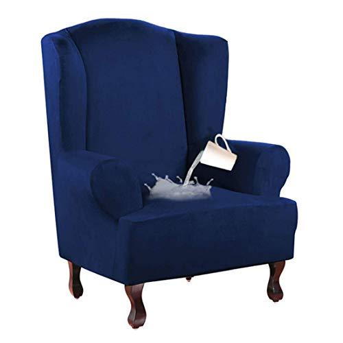 Nati Sesselhusse Wasserdicht Sesselbezug, Stretchhusse für Ohrensessel, Elastisch Husse für Fernsehsessel, Weicher Sesselüberwürfe Sesselschoner Sofabezug Marine