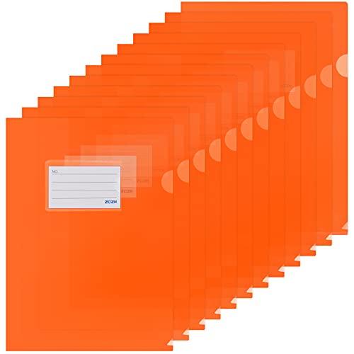 ZCZN - 12 carpetas de plástico naranja, carpeta A4, funda de documentos personalizable, con tarjetero, bolsillo de plástico para guardar o clasificar papeles, documentos, etc. – 31 x 22 cm