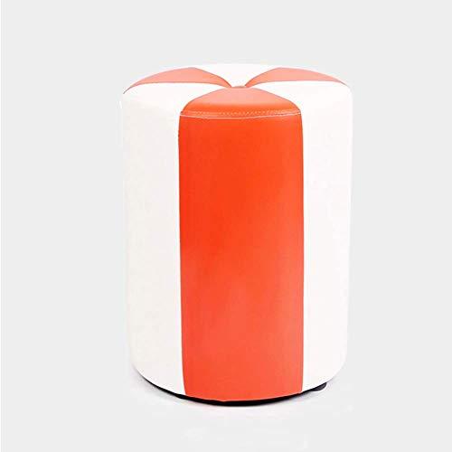WWWWW-DENG barkruk kruk voetkruk werkkruk opstapkruk naaien creatieve lederen salontafel klein blok toevoegen kruk sofa kruk duurzaam (kleur: C oranje) barkruk