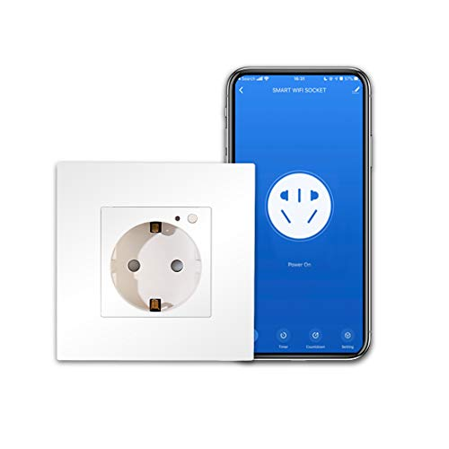 CNBINGO Smart Steckdose Kompatibel mit Alexa/Google Home/IFTTT-Gerät, 16Amp Single WLAN-Buchse mit geschalteter Taste/Anzeige, Smart Life App Fernbedienung 1-Fach-Buchse