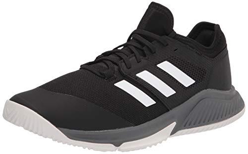 adidas Men's Court Team Bounce Volleyball Shoe, Black/White/Grey, 7.5