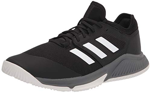 adidas Men's Court Team Bounce Volleyball Shoe, Black/White/Grey, 7.5