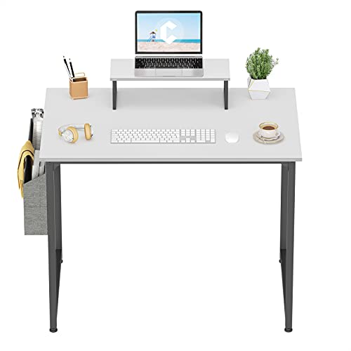 Cubiker Computer Desk 32 Inch Home Office Writing Desk Student Study Desk with Small Table and Storage Bag, White