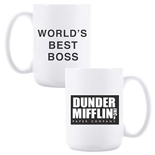 15oz Ceramic Coffee Mug with Dunder Mifflin, World's Best Boss Funny Coffee/Tea/Cocoa Mug, Gift for Male/Female/Bosses/Coworkers… (White)