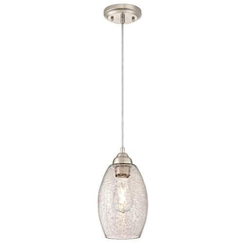 Westinghouse Lighting 6105700 One-Light Indoor Mini Pendant, Brushed Nickel Finish with Clear Crackle Glass