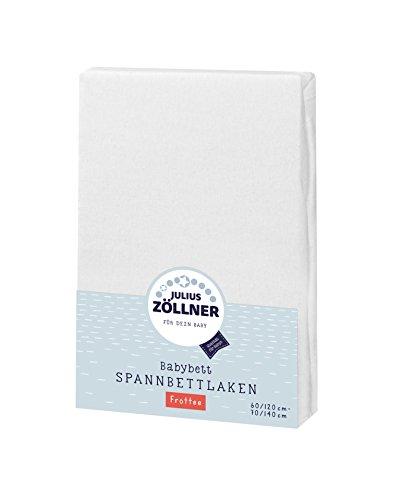 Julius Zöllner Frottee Spannbettlaken für Baby- & Kinderbett, 60x120cm bis 70x140cm, STANDARD 100 by OEKO-TEX, weiß