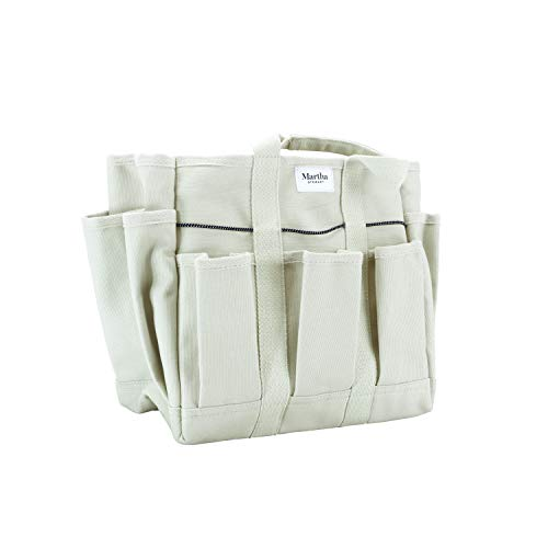 Martha Stewart MTS-CNVBG, 6 11-Inch Heavy-Duty Canvas Garden Bag with Interior and Exterior Pockets, with 6-Inch Pockets Inch Pockets