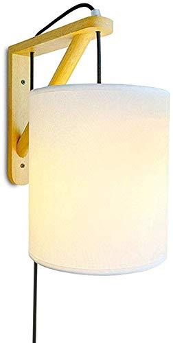Meixian stekker in wandlamp wandlamp lamp, E27 dimbare wandlamp lampen met glaskleurtint hout wandlamp voor binnennacht hal, button schakelaar, eenvoudig retro