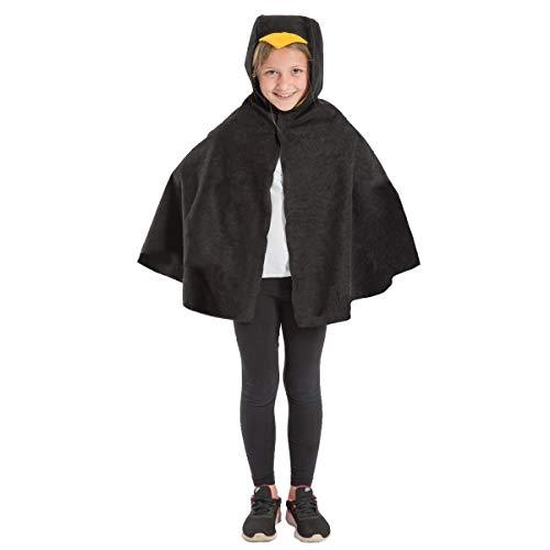 Charlie Crow Schwarz Vogel umhang Kostüm für Kinder - Einheitsgröße 3-8 Jahre.