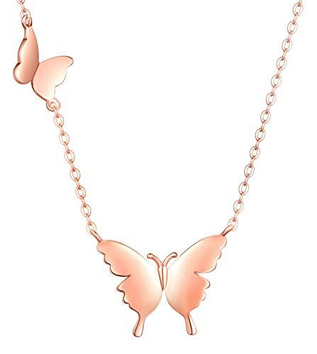 Unendlich U-Ciondolo temperamento moda serie farfalla Collane in argento sterling S925 Collane donna clavicola leggera e lussuosa, colore: argento/oro rosa