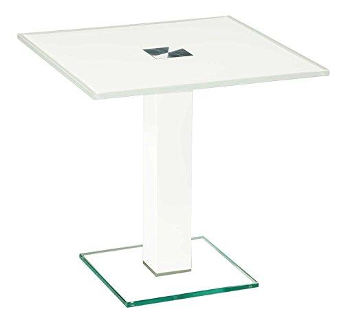 tischdesign24 Sydney35898-A Ecktisch 12mm Glas. Stollen Echtholz furniert 80x80mm. Ausführung: OptiWhiteglas RAL9003 Weiß Lack Weiß Säule Größe: 50 x 50 cm Quadratisch ohne Ablage Höhe: 50cm