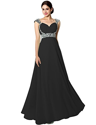 Sarahbridal Women's Chiffon Prom Dresses 2021 Pageants Party Gowns Long with Beading Black US22 (Apparel)