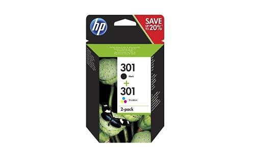 HP 301 N9J72AE - Cartuchos de Tinta Negro y Tricolor, Compatible con Impresoras de Inyección de Tinta HP Deskjet 1050, 2540, 3050, HP Officejet 2620, 4630, HP Envy 4500, 5530