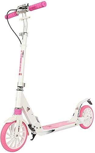 BAIRU monopatín Patinete Scooters de patear para Adolescentes/Adultos | Scooters de Ruedas Grandes de 200 mm, Scooter de Manillar Ajustable para niños de 8 años de Edad. (Color : Pink)