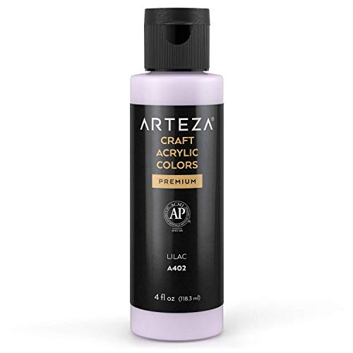 Arteza Craft Acrylic Paint, A402 Lilac, 4fl oz (118 ml) Bottles, Water-Based, Blendable, Matte Acrylic Paints for Art & DIY Outdoor Projects on Glass, Wood, Ceramics, Fabrics, Paper & Canvas