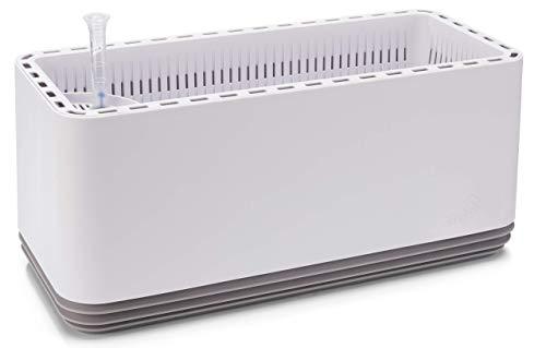 AIRY Pot L (antikweiss/grau) • Natürlicher Luftreiniger filtert Schadstoffe, Allergene & Gerüche aus der Raumluft • Inkl. 9 L AIRY Base Substrat, Wasserstandsanzeiger & Wassertank (3,2 L)
