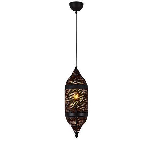 AOKARLIA Retro Lamparas Colgantes marroquí Lamparas de Techo en Metal lampshde | E27 Araña Colgante Iluminación de la decoración del hogar árabe para la Sala de Estar, Dormitorio, Cocina,Black
