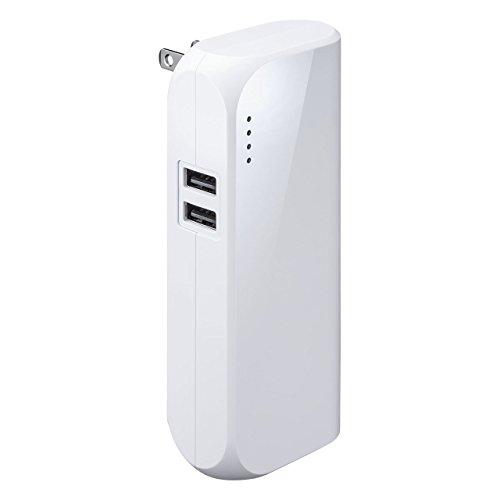 サンワダイレクト モバイルバッテリー 折畳式プラグ 5200mAh 2ポート「追っかけ充電」 残量LED 最大合計2.4A ホワイト 700-BTL034