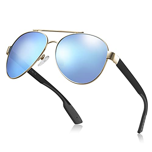 Carfia Gafas de sol polarizadas Pilot para hombres y mujeres, protección UV, conducción, pesca, ciclismo, compras, golf, gafas deportivas