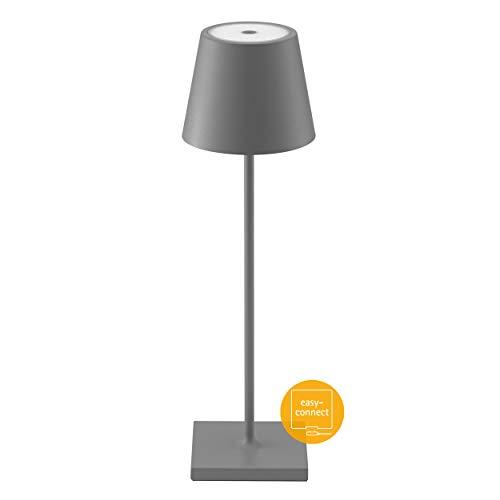 SIGOR Nuindie - Dimmbare LED Akku-Tischlampe Indoor & Outdoor, aufladbar mit Easy-Connect, 24h Leuchtdauer, grau