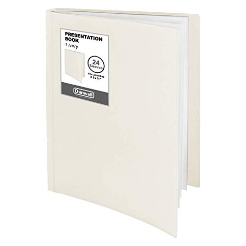 """Dunwell Binder with Plastic Sleeves - (Ivory, 1 Pack), 24-Pocket Bound Presentation Book with Clear Sleeves, Displays 48 Pages of 8.5x11"""" Inserts, Sheet Protector Binder, Portfolio Display Book"""