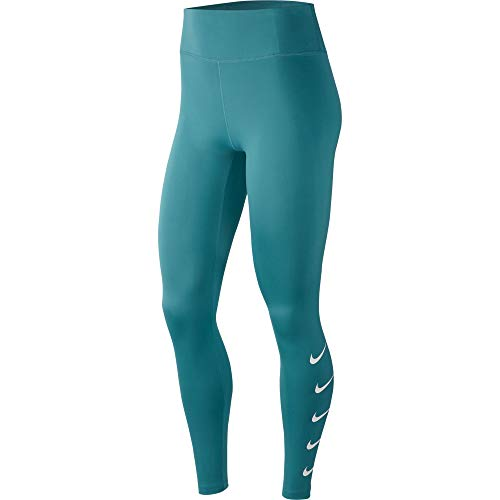 NIKE Swoosh Mallas, Mujer, Mineral Teal/White, L