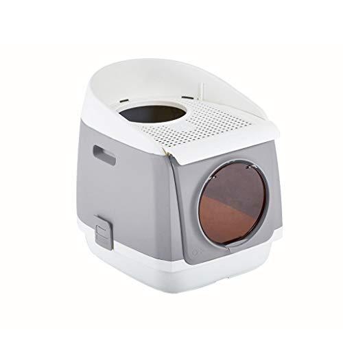 Love lamp Maisons de Toilette Chats for Animaux de Compagnie - Curver Semi-fermé - Bac à litière for Animaux de Compagnie - Bac à litière à Chat à Capuchon Litières pour Chats (Color : Gray)