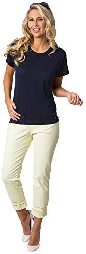 Stehmann, Capri Hose im Minimaldruck mit Hohlsaumstickerei Farbe Tender Yellow, Größe 42