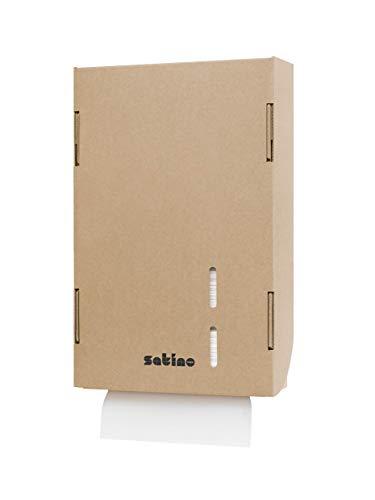 Dispensador de toallas de papel de cartón marrón, reciclable, relleno con 360 toallitas, para uso flexible, por ejemplo, en eventos, hogar privado, gastronomía