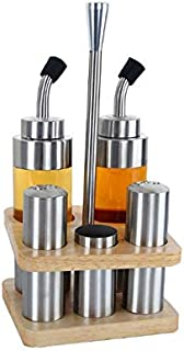SPNEC Assaisonnement de Cuisson en Acier Inoxydable Huile Vinaigre Bouteille Distributeur Sauce Shaker Rangement Cuisine O...
