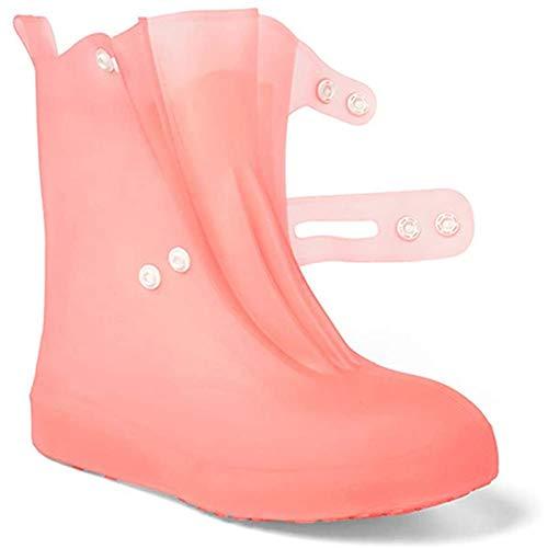 WXHXSRJ Fundas Impermeables para Zapatos Unisex, cubrezapatos Impermeables, Funda para Botas de Lluvia Engrosamiento Reutilizable, para Hombres y Mujeres,Rosado,M