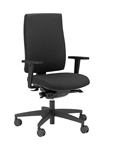 vabo Drehstuhl mit hoher Rückenlehne, ergonomischer Büro-Stuhl mit gepolstertem Sitz & verstellbaren Armlehnen, Schreibtisch-Stuhl in schwarz
