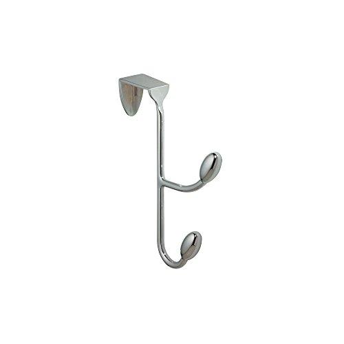 iDesign Hängande klädhängare med 2 krokar, metallklädkrokar för kläder och tillbehör, krokar över dörren för hall eller badrum, silver