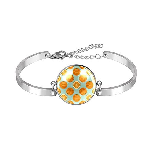 Pulseras para mujeres y niñas, acero inoxidable, brazalete ajustable, diseño de rebanada de fruta naranja