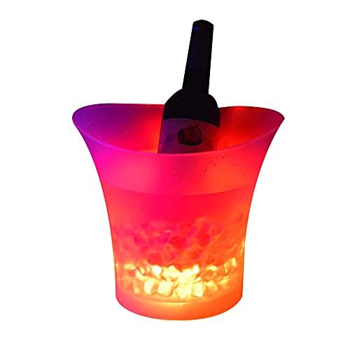 Yezytech Secchiello Ghiaccio,5L Secchiello per Ghiaccio A LED,Secchiello per Il Ghiaccio LED Cambio di Colori Secchio di Raffreddamento del Vino,per Champagne,Vino,Birra,Ghiaccio