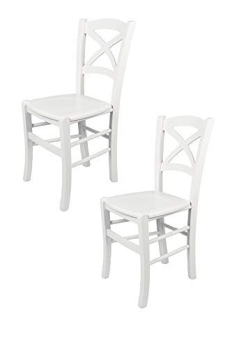 Tommychairs - 2er Set Stühle Cross für Küche und Esszimmer, robuste Struktur aus lackiertem Buchenholz im Farbton Weiss und Sitzfläche aus lackiertem Holz in der Farbe Weiss