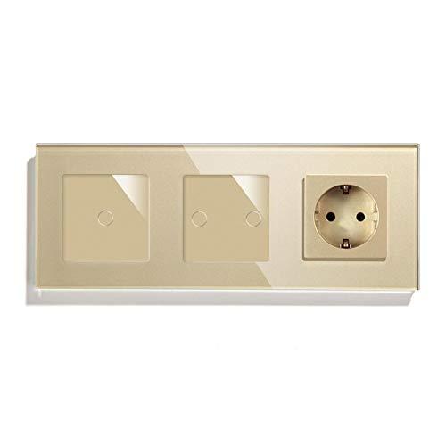 KEXQKN Interruptor de luz táctil, Estándar 1/2 1 Interruptor de Sensor de Pared de Pared con zócalo de Pared Blanco Blanco Blanco Mano DE GOLDIO DE LUZ DE LED para casa (Color : Golden, Size : 1 Way)