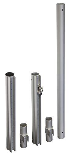 Windhager Sonnensegelmast Premium Ajustable, Postes Acero, Barra de Soporte para toldo, Inoxidable, Altura máxima del mástil 242,5 cm, 10703, Plata