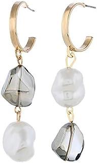 Earrings Simple Wild Long Elegant Waterdrop Shape Earring(Orange) Earrings (Color : Grey)